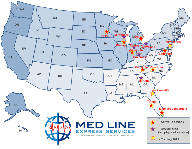 Medline Express Locations Map